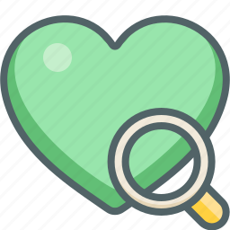 favorite, glass, heart, magnifier, magnifying, search, zoom icon