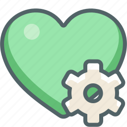 cog, configuration, gear, heart, options, preferences, setting icon