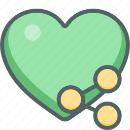 cloud, connection, favorite, heart, network, share, social icon