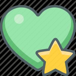 achievement, award, bookmark, favorite, heart, prize, star icon