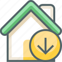 arrow, building, direction, down, estate, house, navigation icon