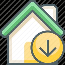 arrow, building, direction, down, estate, house, navigation icon