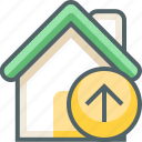arrow, house, up, building, direction, estate, navigation