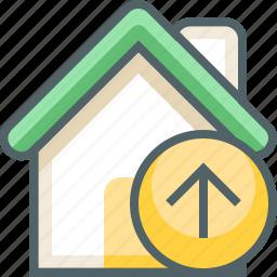 arrow, building, direction, estate, house, navigation, up icon