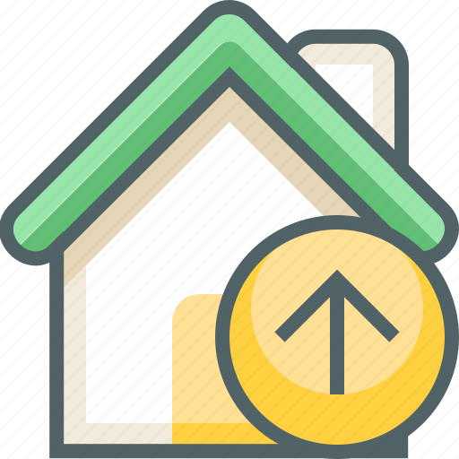 arrow, building, direction, estate, house, navigation, up icon