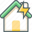 bolt, house, building, estate, flash, thunder, weather