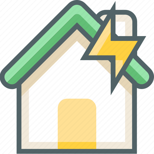 bolt, building, estate, flash, house, thunder, weather icon
