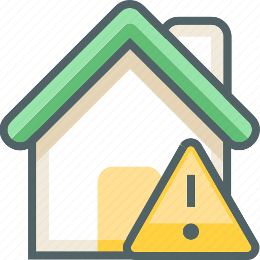 building, caution, construction, danger, estate, house, warning icon
