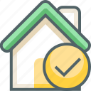 accept, building, check, estate, house, ok, yes icon