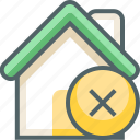 building, cancle, close, delete, estate, house, remove icon
