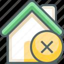 delete, house, building, cancle, close, estate, remove icon