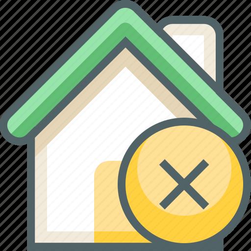 building, cancle, close, delete, estate, house, remove icon