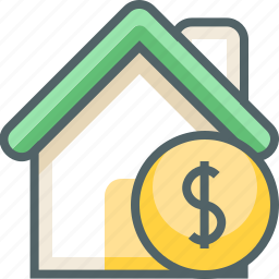 building, coin, dollar, estate, finance, house, rent icon
