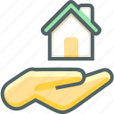 hand, house, building, estate, fingers, gesture, gestures icon