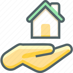 building, estate, fingers, gesture, gestures, hand, house icon