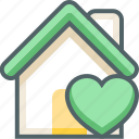 bookmark, building, estate, favorite, heart, house, love icon