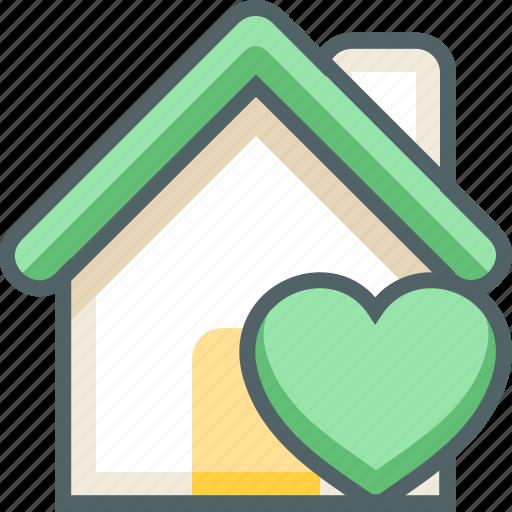 bookmark, building, estate, favorite, heart, house, love icon