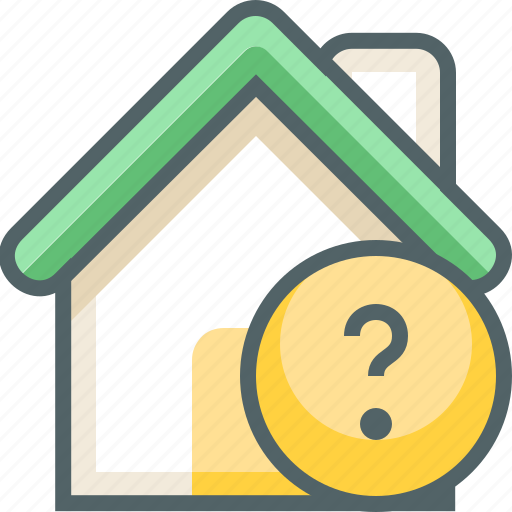 building, estate, help, house, info, question, support icon
