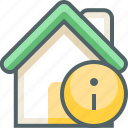 house, info, building, data, estate, infomation, information icon