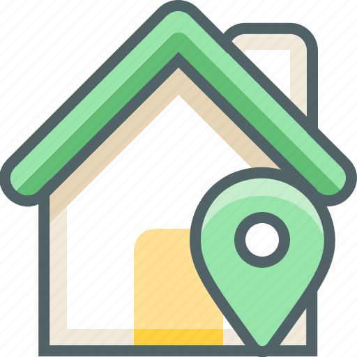building, estate, house, location, map, navigation, pointer icon