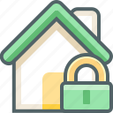 building, estate, house, lock, protection, safe, secure icon