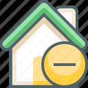 house, remove, building, cancel, delete, estate, minus icon
