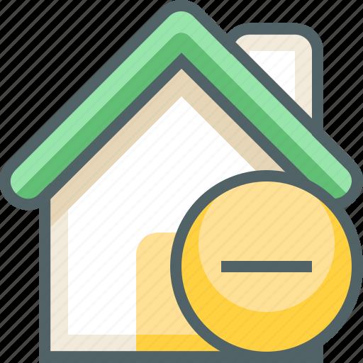 building, cancel, delete, estate, house, minus, remove icon