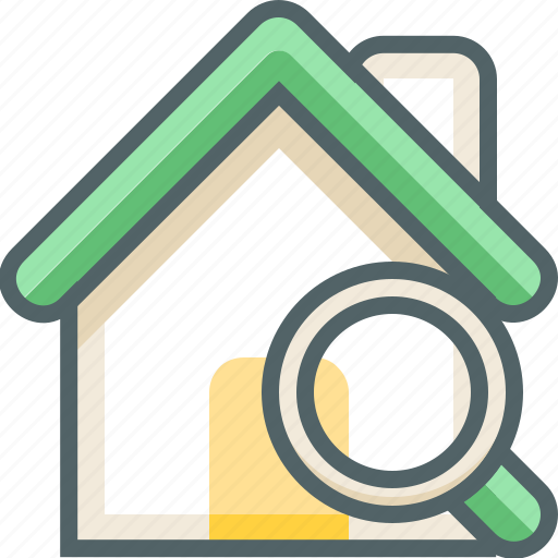 building, estate, find, house, magnifier, search, view icon