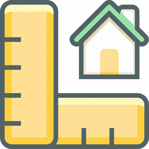 building, estate, house, ruler, scale, set, square icon