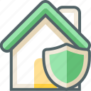 house, shield, building, estate, protection, secure, security icon