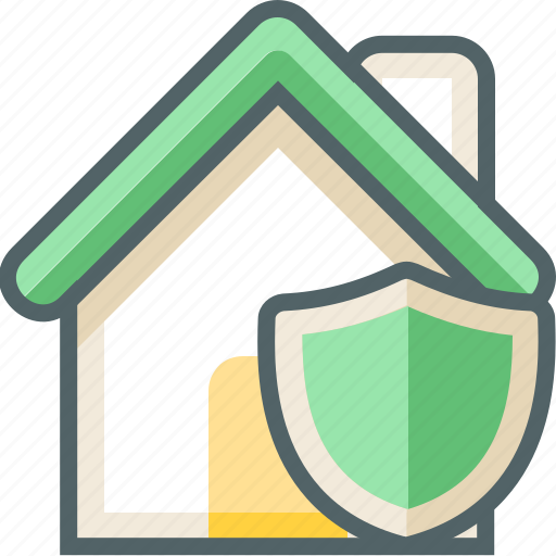 building, estate, house, protection, secure, security, shield icon