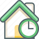 building, clock, deadline, estate, house, time, timer icon