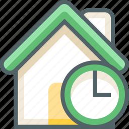 building, clock, deadline, estate, house, time, timer icon