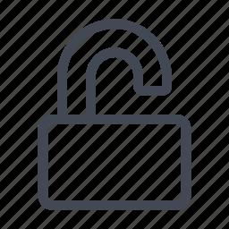 padlock, password, privacy, protect, safety, unlock, unlocked icon