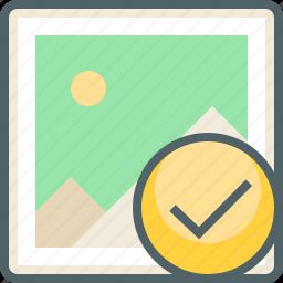 accept, check, gallery, image, mark, photo, tick icon