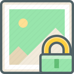 gallery, image, lock, photo, protection, safe, secure icon