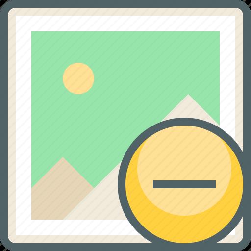 close, delete, gallery, image, minus, photo, remove icon