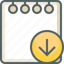 arrow, direction, down, download, note, paper, receive icon