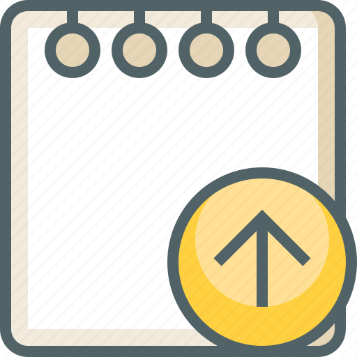 arrow, document, note, paper, send, up, upload icon