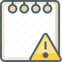 alert, caution, danger, document, note, paper, warning icon