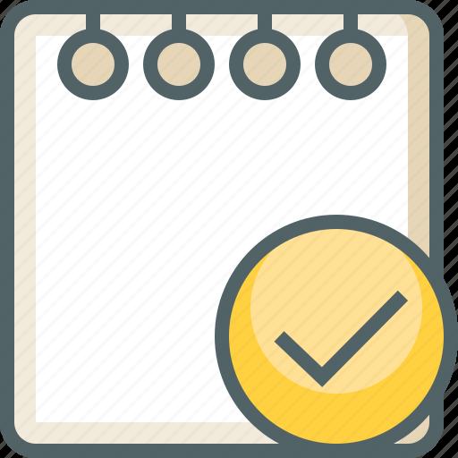 accept, check, document, mark, note, paper, tick icon