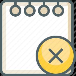 cancle, close, delete, document, note, paper, remove icon