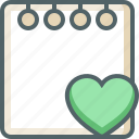 bookmark, document, favorite, heart, love, note, paper icon