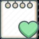 note, heart, bookmark, favorite, paper, love, document icon