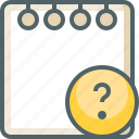 help, information, note, paper, question, service, support icon