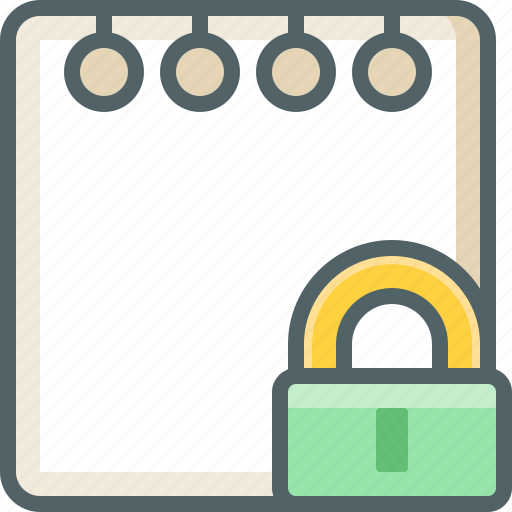 document, lock, note, protection, safe, secure, text icon