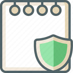 document, note, paper, protection, safe, security, shield icon