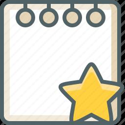 achievement, bookmark, favourite, like, note, paper, star icon