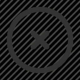 cancel, close, cross, delete, discard, dismiss, remove icon