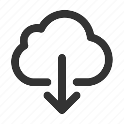 arrow, claud, direction, down, download, save, save as icon